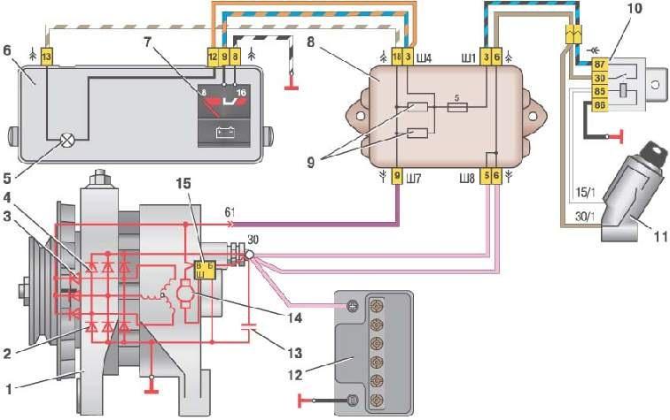 Схема подключения генератора ваз 2101 на фото